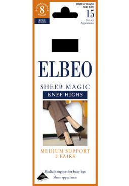 Elbeo 15 Denier Sheer Magic Knee Highs 2 Pair Pack - Black
